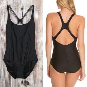 Speedo One Piece Swimsuit Black/White Trim 16